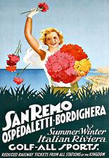 Art AD San Remo Italia Golf Todos Los Deportes Riviera viajar cartel impresión
