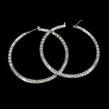 "2"" 18K W Gold Plated Wedding Party Earrings Hoop Lady Costume Jewel CZ Clear 402"