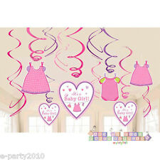 SHOWER WITH LOVE GIRL HANGING SWIRL DECORATIONS (12pc) ~ Baby Party Supplies
