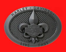 MENS HARLEY DAVIDSON STEEP & DEEP FLEUR-DE-LIS BELT BUCKLE FREE GIFT BOX B & S