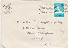 H 834 Singapore 1968 forces mail to UK; 15c solo bird rate; unsealed rate?