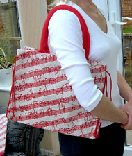 Jute Bow Bag with Music Stave Motif - Music Themed Gift - Musical Shopping Bag