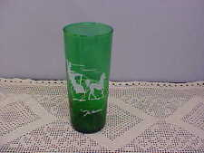 Forest Green Beverage Glass THE HANSOM Tumbler Horse Buggy Anchor Hocking Used