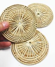 """3 Natural Bamboo Placematts 4"""" Bird Toy Parrot Foraging Foot Craft talon Cage"""