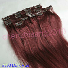 "High Quality 7Pcs/Set Clips in Real Human Hair Extension 20"" 80g 15 Kinds Colors"