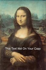 Mona Lisa di Leonardo da Vinci COTONE TELA BELLE ARTI PICTURE PRINT NUOVO A4 / A3