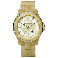 MICHAEL KORS MOP DIAL DATE CERAMIC CASE & BRACELET WOMEN'S WATCH MK5299 NEW