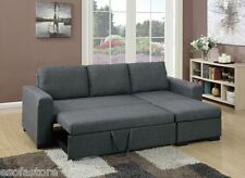 Sectional Set Sofa w Pull out Bed Storage Chaise Blue Gray Polyfiber Sectionals