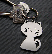 CAT Pussy Moggy Feline Cute Novelty Gift Keyring Keychain Key Bespoke Stainless