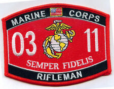 United States MARINE CORPS 0311 RIFLEMAN MOS MILITARY PATCH - SEMPER FI