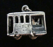 VINTAGE STERLING SILVER MOVEABLE DRIVER IN A SAN FRANSICO CABLE CAR CHARM