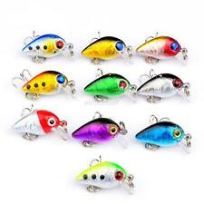 Lot 10 Mini Micro Fishing Lures Floating Minnow Bait CrankBait Treble Hooks