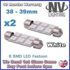 2 x Festoon Bulb 38mm 6 SMD LED 5050 White 5000K Courtesy Numberplate Light 12V