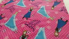 pink disney forever sisters character toss fabric Anna Elsa fat quarter 22x18ins