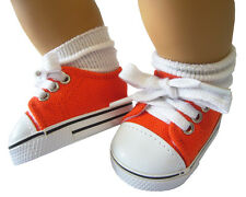 Halloween Orange Canvas Shoes Sneakers for Bitty Baby + Twins Doll Clothes
