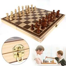 3D Wooden Pieces Chess Set Folding Board Box Wood Hand Carved Gift Kids Toys AD