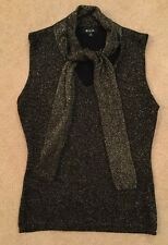 Ladies Women's Sleeveless Black And Gold Top T-Shirt Size Medium By Mixin
