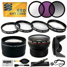 15PC Macro + Fisheye + Telephoto + Filters for Canon Powershot SX1 SX10 SX20 IS