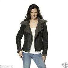 851 Laura Scott Full Fur Faux Leather Biker Zip Black Jacket Size UK 14 EU 42