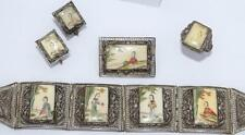 ESTATE ANTIQUE CHINESE 900 SILVER FILIGREE HAND-PAINTED SCRIMSHAW PARURE/SET