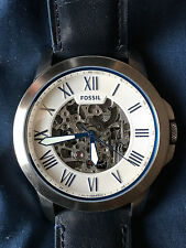 Fossil Grant Automatic Silver Skeleton Dial Men's Watch