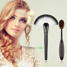 New Toothbrush Oval Make up Brush Powder Foundation Contour+Large Fan Brush Set