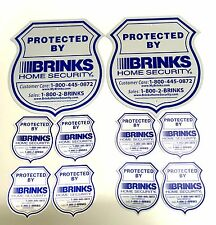 2 YARD SIGNS 8 WINDOW STICKERS BRINKS SECURITY HOME ADT 'L REFLECTIVE NO POST