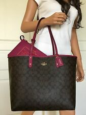 COACH BROWN BLACK SIGNATURE PURPLISH PINK LEATHER REVERSIBLE SHOULDER TOTE BAG