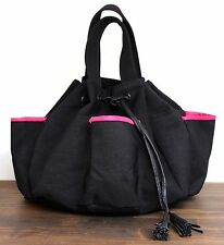 GIVENCHY PARFUMS BLACK NYLON PINK TRIM DRAWSTRING TASSELS COSMETIC BAG PURSE