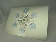 Metatron Cube WALL CLOCK on Silver Brushed Metal, Silent Non-Tick mechanism