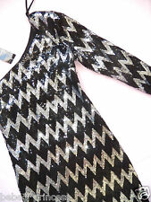 NWT bebe silver black sparkle sequins one shoulder zig zag top dress club S hot