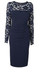 Phase Eight / 8 Rhona Lace dress in navy blue Size 16