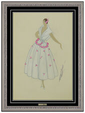 Erte Original Art Deco Costume Dress Design Gouache Painting Signed Tirftoff SBO