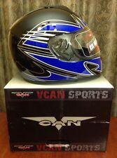 VCAN V136 Full-Face Motorcycle Helmet Electric Blue & Black XL