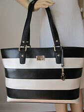 NEW ST JOHN KNIT BLACK & WHITE CREAM SAFFIANO  LEATHER TOTE OR SHOULDER BAG