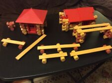 Lot Of Playskool Lincoln Logs Partial LE Dinty Moore Lincoln Log Cabin