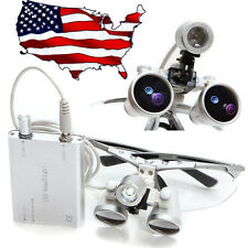 US Stock 3.5X 420mm Dental Surgical Binocular Loupes Optical Loupe+LED Head Lamp