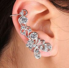 Retro Crystal Butterfly Flower Ear Cuff Stud Earring Wrap Clip On Punk Fashion