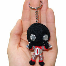 Handmade Recycled Metal Black Robot String Voodoo Doll Keyring Keychain Toy Gift