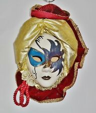 Hand Painted Ceramic ANCO 1992 Lady Face Wall Mask Mardi Gras Masquerade Style