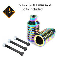 PRO STUNT SCOOTER PEGS NEO CHROME NEOCHROME OIL SLICK 100mm 110mm WHEELS FORK 11