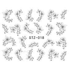 NAIL ART STICKERS WATER DECAL NAIL TRANSFER WRAPS WHITE FLOWER FLORAL STZ018