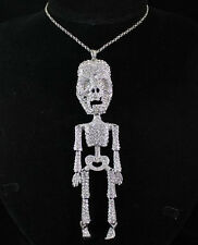HUGE 6 INCHES SKELETON CLEAR AUSTRIAN RHINESTONE LONG NECKLACE PENDANT N1593