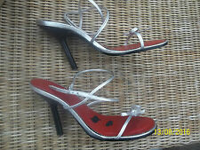 "SIZE 6(39)SILVER LEATHER STRAPPY SANDALS 4""STILETTO HEEL BY OFFICE"