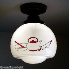 198 Vintage 30s 40s Ceiling Light Lamp Fixture Re-Wired kithcen