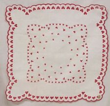 Vintage Valentine Hankie Little Red White Hearts Border and Rectangle Cotton