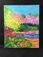 Original Oil Painting 10x8 Impressionism Floral Path Brights Pinks Yellow Signed