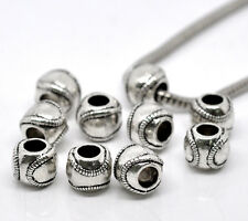 20Pcs Silver Tone Baseball Beads Fit European Charms Bracelets Jewelry 11x9mm