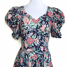 LAURA ASHLEY Vtg 1980's Dark Blue Rose Floral Puff Sleeve Back Bow Dress XS / S