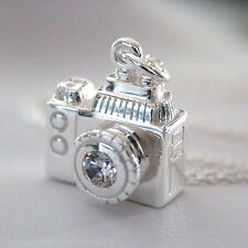 Camera Charm Photography Photographer - 925 Sterling Silver Charm Necklace 3D